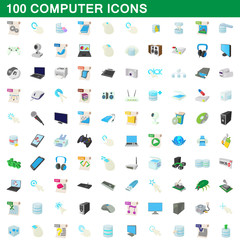 100 computer set, cartoon style