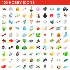 100 hobby icons set, isometric 3d style