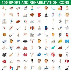 100 sport and rehabilitation set, cartoon style