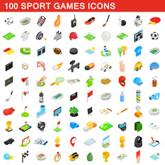 100 sport games icons set, isometric 3d style