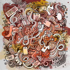 Cartoon cute doodles hand drawn Shopping illustration