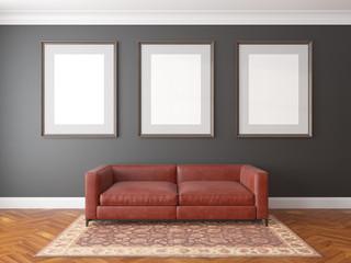 Mock up poster, interior scene, 3d render