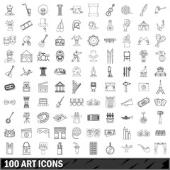 100 art icons set, outline style
