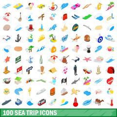 100 sea trip icons set, isometric 3d style