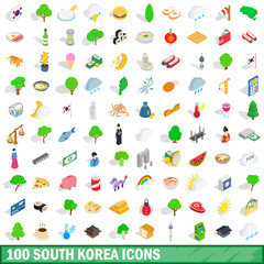 100 south korea icons set, isometric 3d style