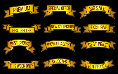 Wall Mural - Luxury gold premium sales, exclusive offer vector banners set