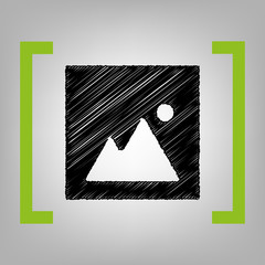 Image sign illustration. Vector. Black scribble icon in citron brackets on grayish background.