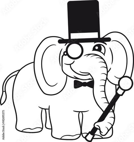 Sir Herr Gentlemen Mustache Zylinder Bart Hut Monokel Brille Anzug