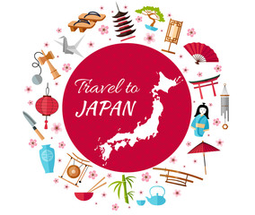 Japan travel banner with icons, souvenirs, design elements and famous Japanese symbols. Vector illustration in flat style with inscription: Travel to Japan .