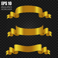 Set of gold ribbons. Ribbon on a black background. Vector illustration. Golden ribbons various forms.