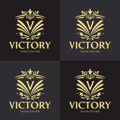 Victory logo design template. Luxury logo design concept. Vector illustration