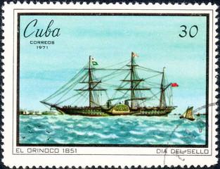 UKRAINE - CIRCA 2017: A postage stamp printed in Cuba shows Sailing vessel El Orinoco 1851, serie Seal Day, circa 1971
