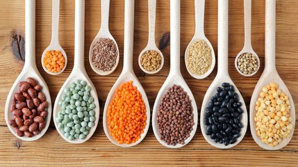 Lentils, peas and beans.