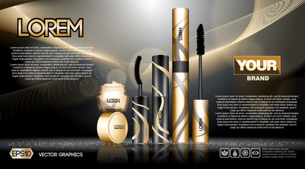 Digital vector golden and black skin care cream, mascara cosmetic container set mockup collection, your brand package, print ads or magazine design. Transparent and shine template, realistic 3d style