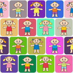 Seamless Background with Happy Cartoon Children, Funny Little Boys and Girls in Bright Clothes, Standing with Arms Wide Open and Smiling in Colorful Squares, Tile Pattern for your Design. Vector