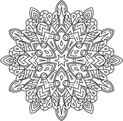 Abstract vector black lace design in mono line style - hexagonal mandala, ethnic decorative element.