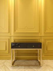 Black console with gold in classic yellow interior. 3d render illustration.