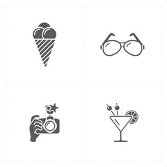 four flat free travel icons