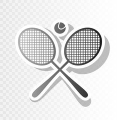 Tennis racket sign. Vector. New year blackish icon on transparent background with transition.