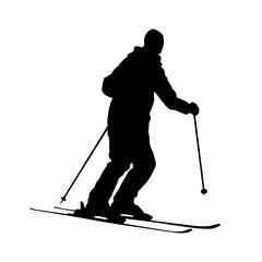 silhouette of skiing man.