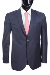jacket with white shirt and tie on the black mannequin