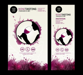 Template for poster, flyer or invitation wine tasting. Wine tasting icons.