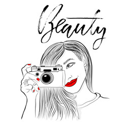 Monochrome vector illustration. Beautiful girl with red lips and nails. Smiling photographer with old camera. Beauty. Dry brush lettering. Handdrawn inscription.