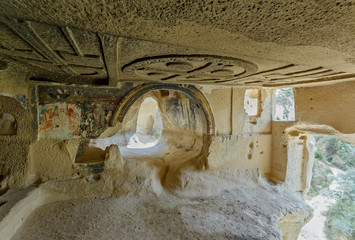 Interior of the cave church with early ortodox christian fresco - Cappadocia, Central Anatolia, Turkey (UNESCO World Heritage Site since 1985)