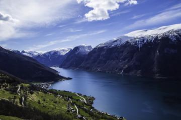 fiord i małe miasteczko, Flam, Norwegia