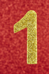 Number one golden color over a red background. Anniversary.