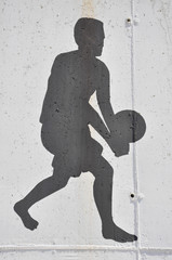 Wall graffiti with sports