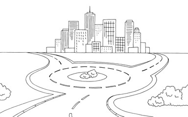 Roundabout road graphic black white landscape sketch illustration vector