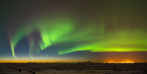 Aurora above Keflavik in Iceland.