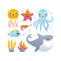 Cartoon sea animals set