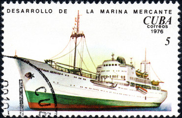 UKRAINE - CIRCA 2017: A postage stamp printed in Cuba shows ship, from the series History and development of ships, circa 1976