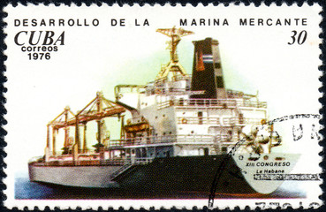 UKRAINE - CIRCA 2017: A postage stamp printed in Cuba shows ship XIII Habana Congress, from the series History and development of ships, circa 1976