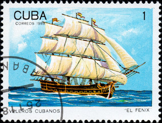 UKRAINE - CIRCA 2017: A postage stamp printed in Cuba shows sailing ship El Fenix, from the series Cuban sailboats, circa 1989