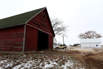 An old red barn on the farm