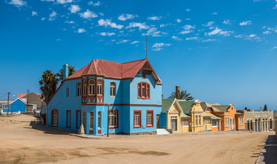 Colorful houses in Luderitz, german style town in Namibia