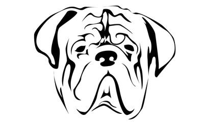 Векторное изображение силуэта собаки породы мастиф