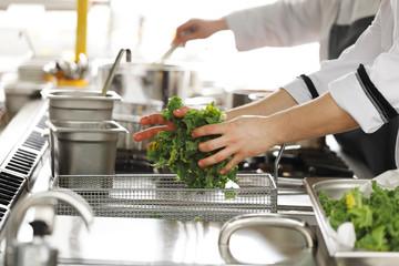 Professional kitchen in a restaurant