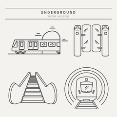 Metro linear vector icons
