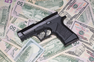 handgun and money glowing