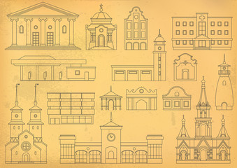 Vector set of thin line city buildings to create and generate a tourist map. Different houses on beige paper background. Stylization for the old drawing.