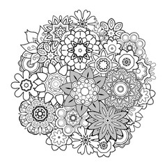 Vector Monochrome Background With Abstract Flowers. Circle floral ornament. Hand Drawn Contour Lines