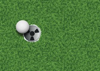 Golf - fond - terrain de golf - Trou - Club de golf - balle de golf - vue du dessus