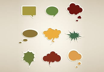 Retro Style Speech Bubble Icons