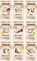 Vector hand drawn cheese posters set. Sketch cards. Milk products vertical banners with different sorts of cheese bio natural food.  Dairy vintage illustrations.
