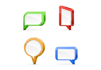 Glossy Border Speech Bubble Icons