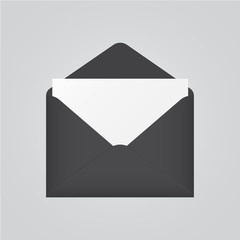 Dark envelope with letter icon on grey background